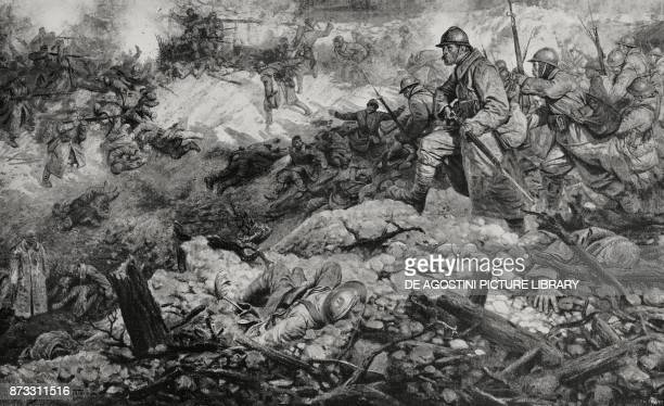 Fighting in a crater during the Battle of Verdun France World War I drawing by J Simont from L'Illustrazione Italiana Year XLIII No 17 April 23 1916