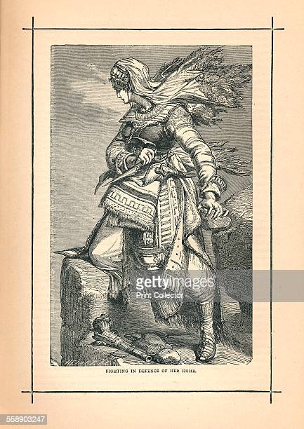 'Fighting in Defence of her Home' 1893 A Schamyl woman defending Circassia against the Russians 1839 From The Pictorial Treasury of Famous Men and...