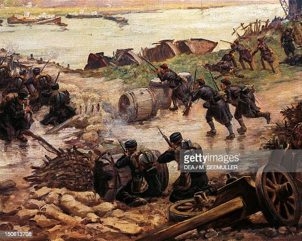 BELGIUM Fighting on the Yser Belgian naval infantry and riflemen holding back the Germans 1914 World War I Belgium 20th century