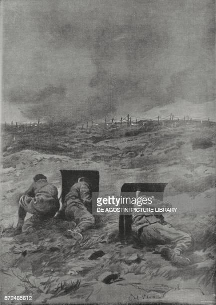 Fighting scene on the front for the liberation of Gorizia Italy World War I drawing by Aldo Molinari from L'Illustrazione Italiana Year XLII No 49...