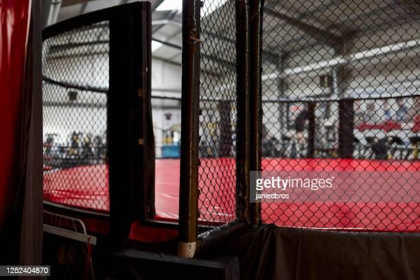 vue latérale de scène de combat. fermez-vous vers le haut sur l'entrée d'arène - combat libre photos et images de collection