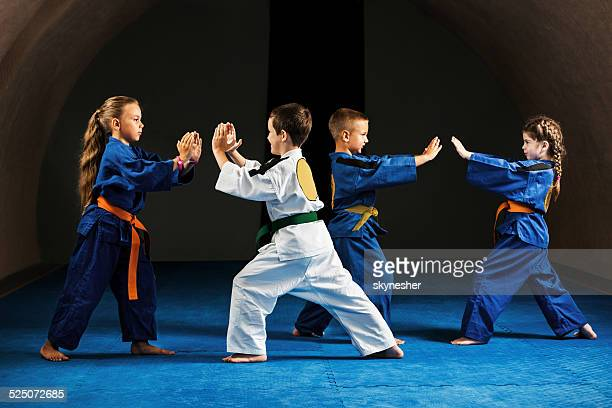 fighting stance. - taekwondo kids stock photos and pictures