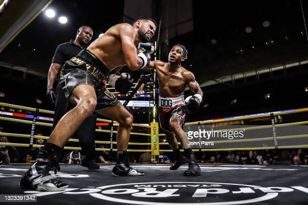Fights Nate Wyatt during LivexLive's Social Gloves: Battle Of The Platforms PPV Livestream at Hard Rock Stadium on June 12, 2021 in Miami Gardens,...