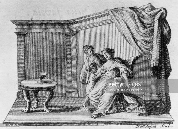 O figlio mio tu non arai piu madre Ella gia se ne va statti con Dio Sofonisba and Erminia Act V illustration for Sofonisba tragedy by Gian Giorgio...