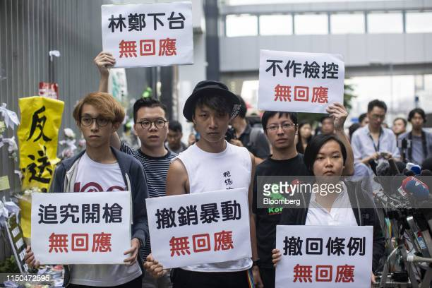 Figo Chan vice convener of the Civil Human Rights Front from left Kalvin Ho vice convener Jimmy Sham convener Wong Yikmo vice convener and...