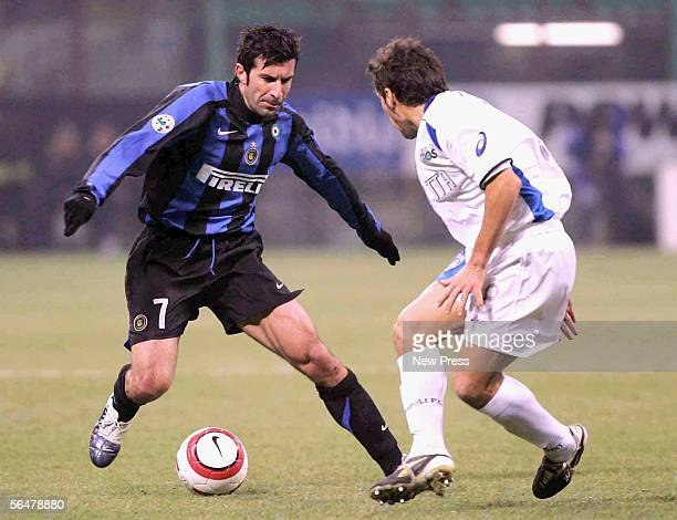 Figo of Inter in action during the Serie A match between Inter Milan and Empoli at the Giuseppe Meazza, San Siro Stadium on December 21, 2005 in...