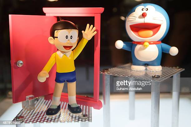 FiguartsZERO Nobita and Doraemon figure set is on display during the Singapore Toy Game Comic Convention at the Sands Expo Convention Centre on...