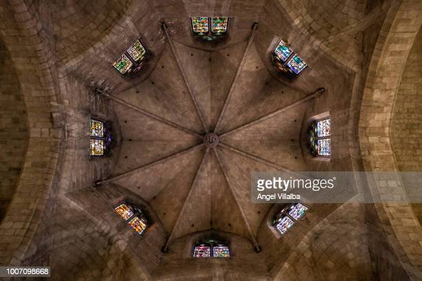 figueres. st. peter's church - girona stock photos and pictures