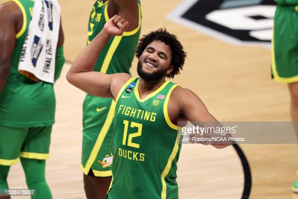 Figueroa of the Oregon Ducks celebrates after the win against the Iowa Hawkeyes in the second round of the 2021 NCAA Division I Men's Basketball...