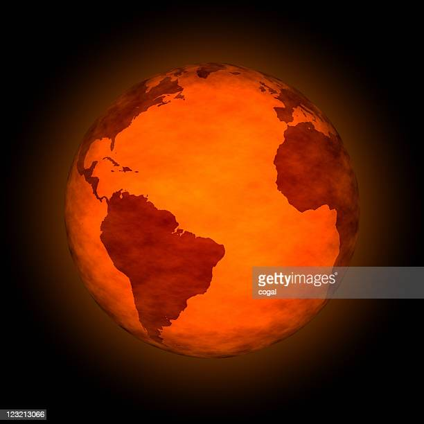 Figurative image of global warming with red globe