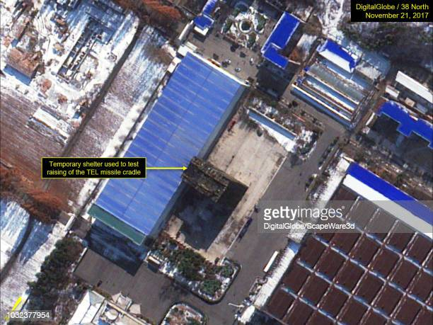 Figure 1 Building and temporary shelter that were used to modify and test components of the Hwasong15 TEL Credit DigitalGlobe/38 North via Getty...