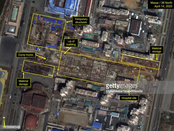 Figure 1 Comparison of hospital shape on satellite imagery versus the architectural rendering broadcast by Korean Central Television Please use...