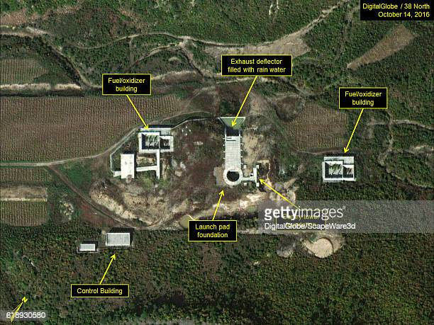 Figure 1 Construction of new launch pad and fuel/oxidizer buildings still incomplete Credit DigitalGlobe/38 North