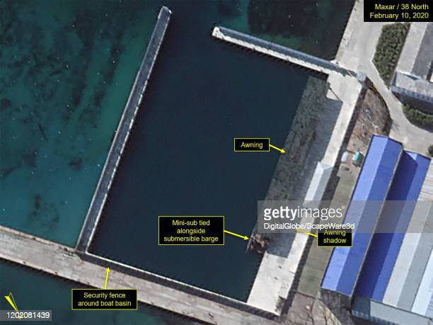 Figure 1. Overview of secure boat basin with mini-sub visible. Credit: Maxar/38 North via Getty Images