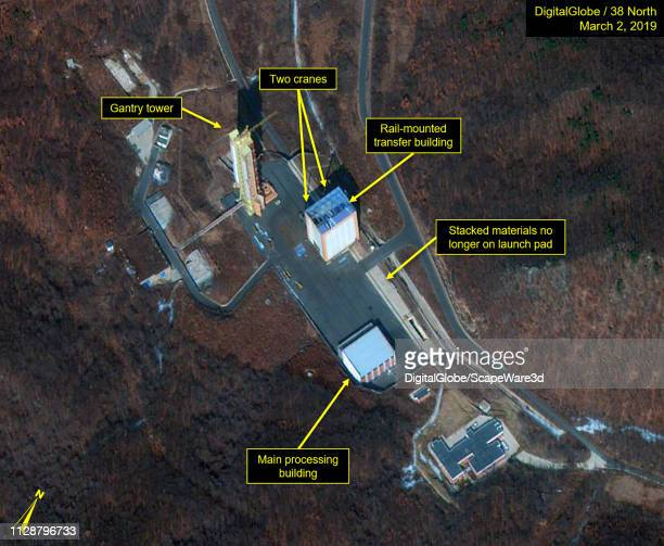 Figure 1 Railmounted transfer building is being rebuilt Date March 2 2019 Mandatory credit for all images DigitalGlobe via Getty Images/38 North via...