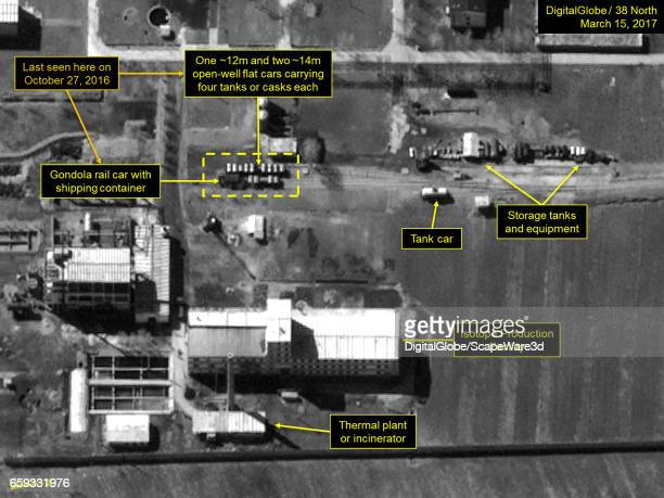 Figure 1 Specialized railcars seen near the Isotope Production Facility Mandatory credit for all images DigitalGlobe/38 North via Getty Images