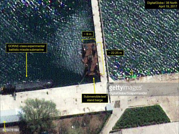 Figure 1 Submersible test stand barge seen at the Sinpo South Shipyard Date April 19 2017 Mandatory credit for all images DigitalGlobe/38 North via...
