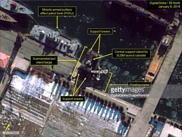 Figure 1 Work continues on submersible test stand barge seen at Nampo Navy Shipyard Mandatory credit for all images DigitalGlobe/38 North via Getty...
