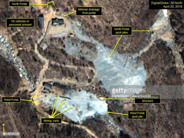 KOREA APRIL 20 2018 Figure 2 A train of mining carts and new structure are present at the West Portal spoil pile