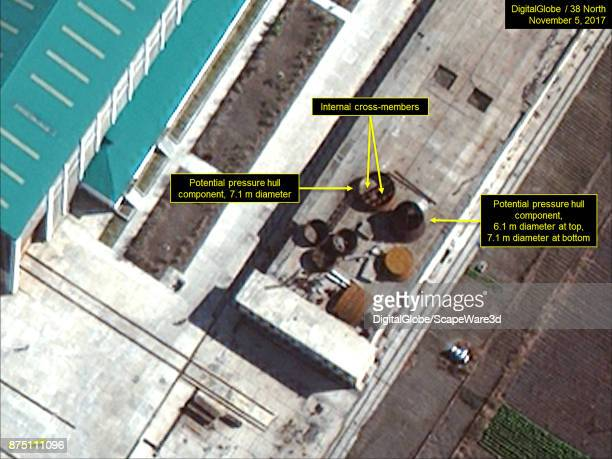 Figure 2 Closeup of one parts yard shows potential pressure hull components Mandatory credit for all images DigitalGlobe/38 North via Getty Images