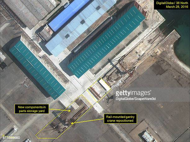 Figure 2A A DigitalGlobe closeup view of regular repositioning of cranes supporting the parts storage yards at Sinpo's South Shipyard Imagery...