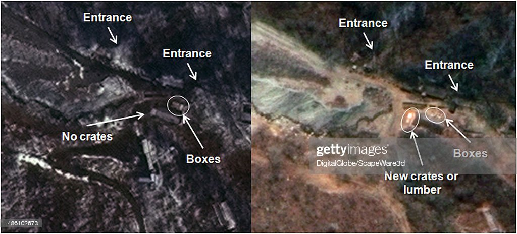 Figure 3 is DigitalGlobe Imagery from April 6th 2014 and April 19th 2014 and shows Low Level Activity at the South Portal Area of North Koreas Punggye-ri Nuclear Test Site. Left Side: April 6, 2014, Right Side: April 19, 2014. Published on 38 North