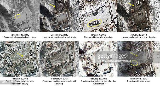 Figure 3 is DigitalGlobe Imagery of North Koreas Punggyeri Nuclear Test Site showing progression of preparation activities at the Main Support Area...