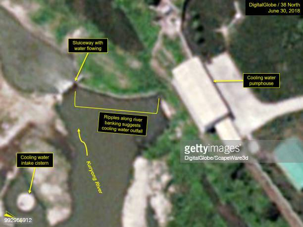 Figure 3 Water ripples can be seen from the ELWR pump house to the sluiceway waterfall Credit DigitalGlobe/38 North via Getty Images