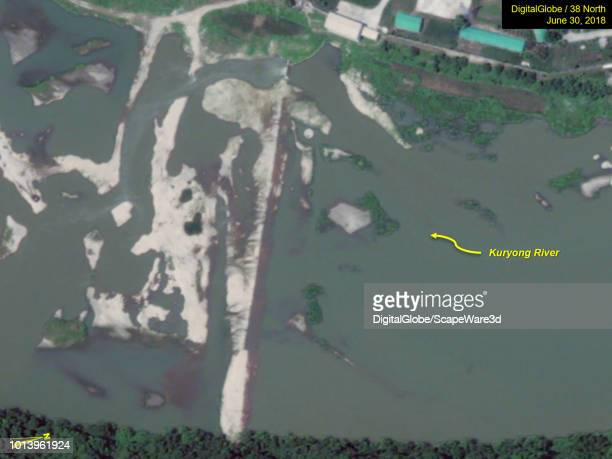 Figure 3A Improvements are being made to the earthen dam forming the reservoir across the Kuryong River Credit DigitalGlobe/38 North via Getty Images