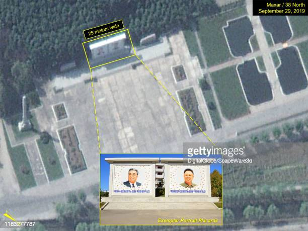 Figure 4 Closeup of a monument area south of the main road between Yongbyon City and the Nuclear Scientific Research Center The portraits of Kim Il...