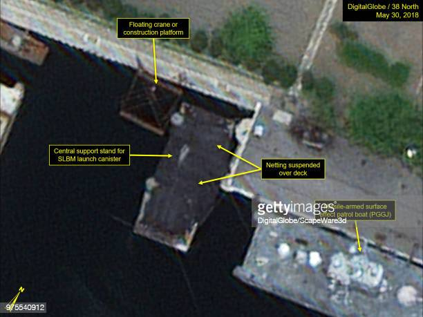 Figure 4 Nampo Navy Shipyard's submersible test stand barge Mandatory credit for all images DigitalGlobe/38 North via Getty Images