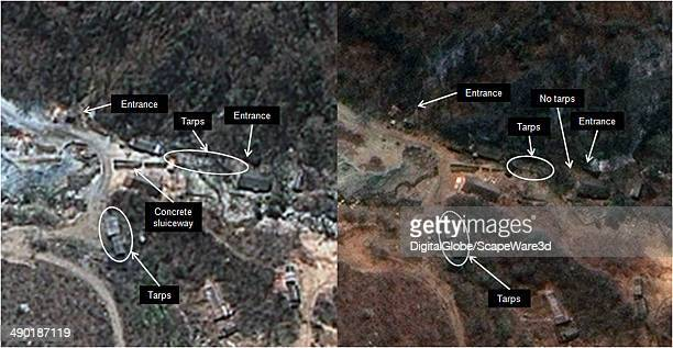Figure 5 is DigitalGlobe Imagery of North Koreas Punggyeri Nuclear Test Site from April 19th 2014 and May 13th 2013 showing tarps that have been seen...