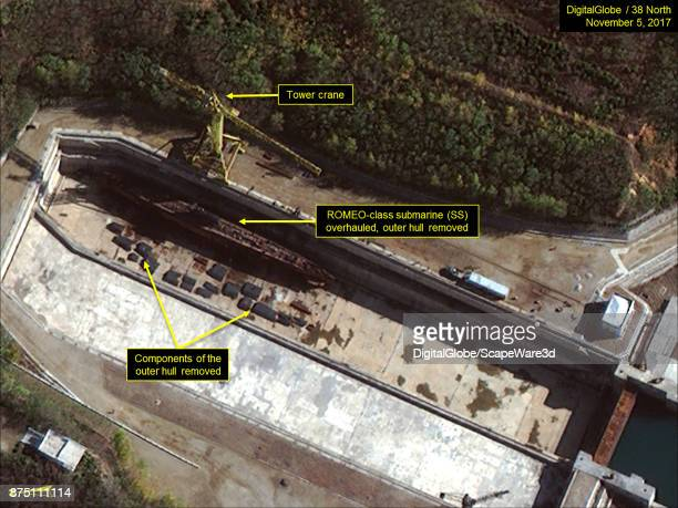 Figure 5 ROMEOclass submarine overhauled at drydock Mandatory credit for all images DigitalGlobe/38 North via Getty Images