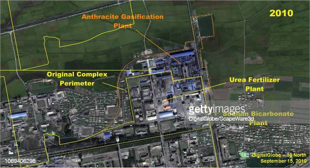 Figure 72 A comparison of the Namhung Youth Chemical Complex northern section showing the construction of the Anthracite Gasification Plant Credit...