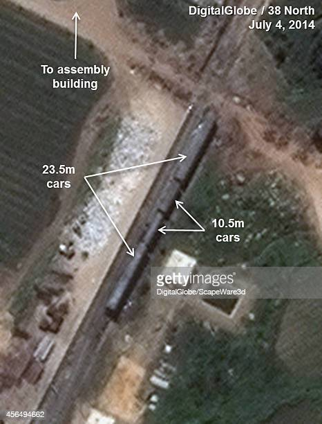 Figure 9A DigitalGlobe Imagery showing unusually large rail cars Note image rotated Date July 4th 2014 Analysis published on 38 North