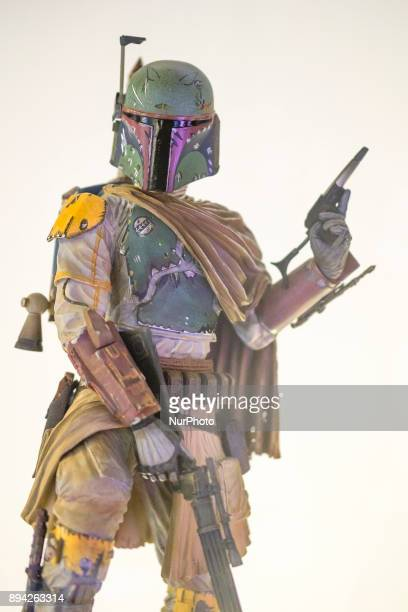 A figure is exhibited at the 'Star Wars Exhibition' at Telefonica flagship store on December 17 2017 in Madrid Spain