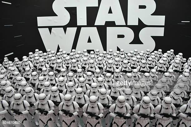 Figure models called First Order's Stormtrooper from the movie quotStar Warsquot are displayed in Akihabara shopping district in Tokyo Japan December...
