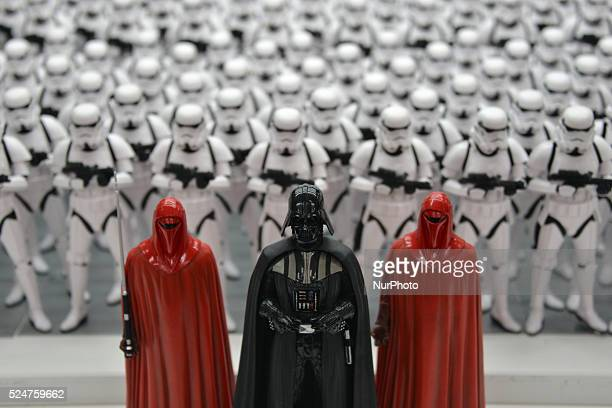 """Figure models called First Order's Stormtrooper from the movie """"Star Wars"""" are displayed in Akihabara shopping district in Tokyo, Japan,..."""