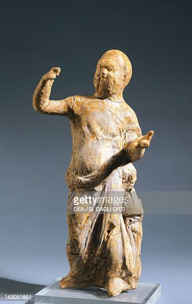 Figure of a satyr a terracotta statue unearthed in Contrada Spinito Cefalu Sicily Italy Ancient Greek civilization Magna Graecia 5th Century BC...