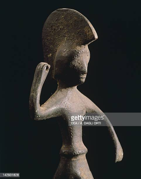 Figure of a warrior bronze votive statue unearthed in Campania Italy Italic Civilization 5th Century BC Naples Museo Archeologico Nazionale