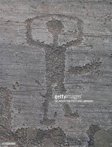 Figure of a warrior rock engraving of Val Camonica Lombardy Italy Neolithic
