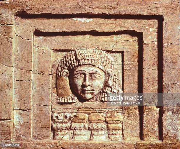 Figure of a woman in a window ivory relief from Arslan Tash Syria Sumerian civilization 29002350 BC Aleppo Archaeological Museum