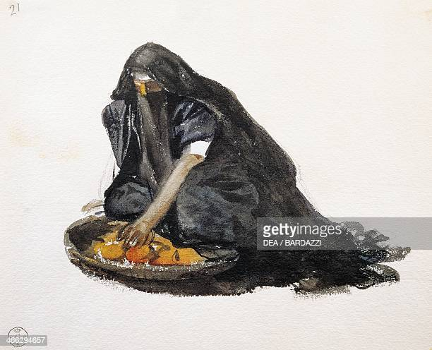 Figure of an Arab woman kneading some couscous drawing by Stefano Ussi