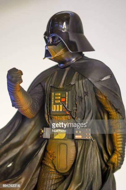 A figure of Darth Vader is exhibited at the 'Star Wars Exhibition' at Telefonica flagship store on December 17 2017 in Madrid Spain