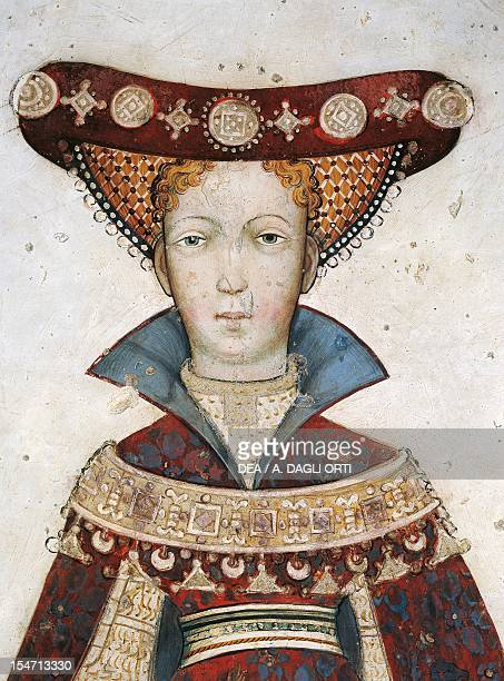 Figure of Hippolyta detail of a fresco by Giacomo Jaquerio Castello della Manta Saluzzo Italy 15th century