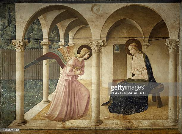 Figure of Mary, detail from The Annunciation, 1437-1445, by Giovanni da Fiesole, known as Fra Angelico , fresco. Cells of the first floor, St Mark's...