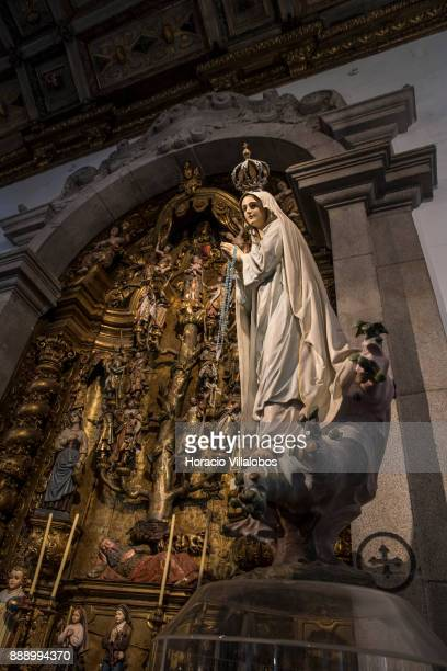 Figure of Our Lady of Fatima at a side altar of the Parish Church of Matosinhos during the visit by participants of Gastronomic FAM Tour on December...