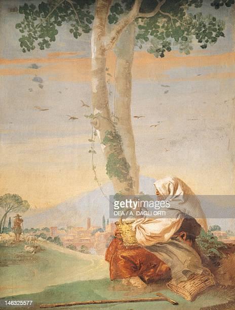 Figure of peasant by Giambattista Tiepolo fresco The Countryside Room Guest Quarters of Villa Valmarana ai Nani Vicenza