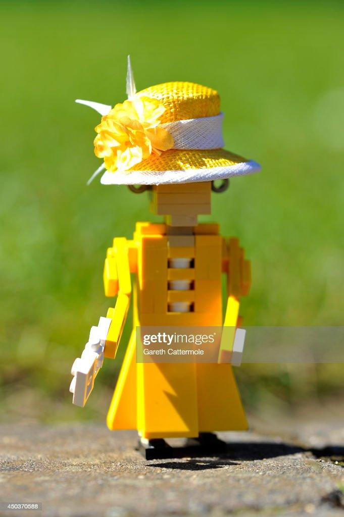 Rachel Trevor-Morgan Fits Designer Hats To LEGOLAND Figures Ahead Of Royal Ascot : News Photo