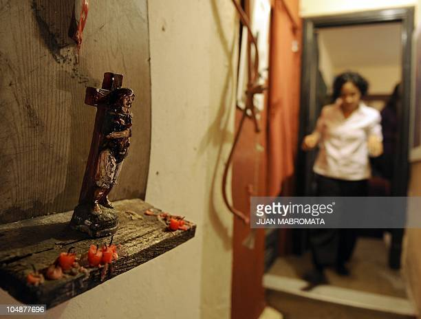 A figure of the Gauchito Gil a legendary character of Argentina's popular culture is seen at the backstage of the Korintho theater where the play A...